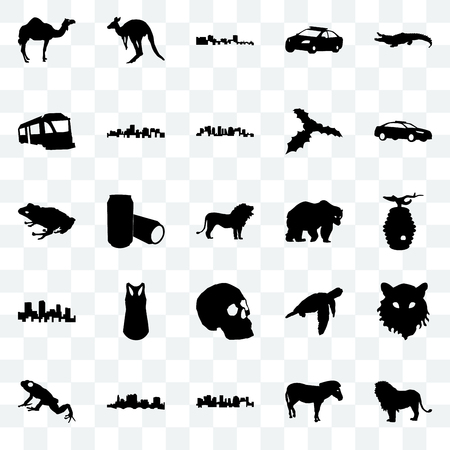 Set Of 25 transparent icons such as lion, zebra, norway, state of ohio, frog, police car, bear, simple skull, colorado, train, cuba, kangaroo, web UI transparency icon pack