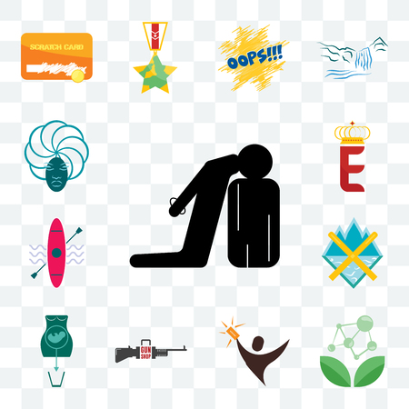 Set Of 13 transparent editable icons such as execution, antioxidant, lucky draw, gun shop, abortion, crossed skis, kayak, e crown, goddess, web ui icon pack