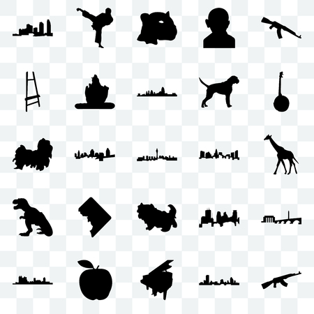 Set Of 25 transparent icons such as ak47, wisconsin, grand piano, apple, fort worth, banjo, charlotte, shih tzu, t rex, painter easel, jaguar face, karate kick, web UI transparency icon pack