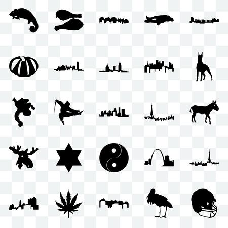 Set Of 25 transparent icons such as football helmet, stork, utah, marijuana leaf, ohio, doberman, paris, yin yang, moose head, pumpkin, turkey leg, web UI transparency icon pack