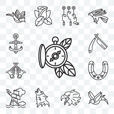 Set Of 13 transparent editable icons such as Compass, Bird, Eagle, Wolf, Ship, Horseshoe, Revolvers, Razor, Anchor, web ui icon pack