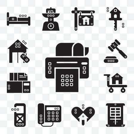 Set Of 13 transparent editable icons such as Paper printer, Facade, Lover, Domestic phone, Disturbance, Carrier, Archives, Ceremonial, Real estate, web ui icon pack Illusztráció