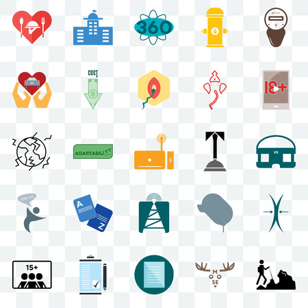 Set Of 25 transparent icons such as hiker, moose, specification, order form, number of players, xxx, concierge, cell tower, join us, car dealer, 360 degree, municipal, web UI transparency icon pack