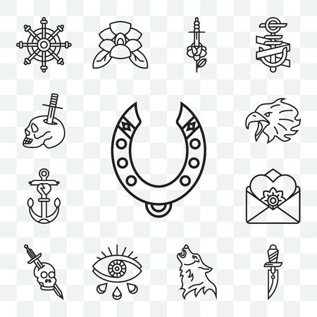 Set mit 13 transparenten bearbeitbaren Symbolen wie Hufeisen, Dolch, Wolf, Auge, Schädel, Brief, Anker, Adler, Schädel und Web-UI-Symbolpaket Vektorgrafik