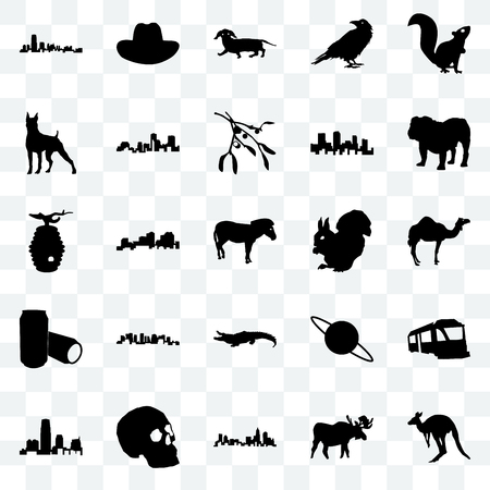 Set Of 25 transparent icons such as kangaroo, moose, north carolina state, simple skull, new jersey, bulldog, , alligator, beer can, boxer, dachshund, cowboy hat, web UI transparency icon pack