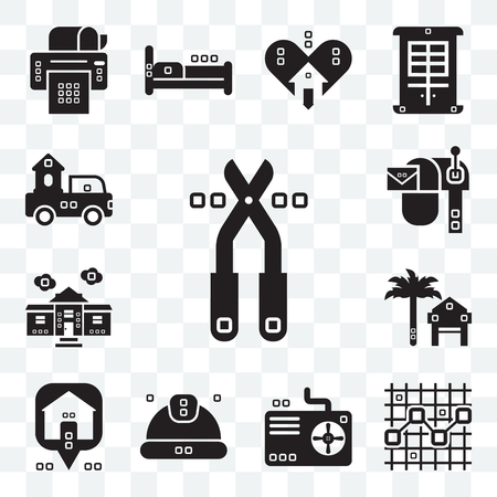 Set Of 13 transparent editable icons such as Pruners, Line chart, Cooling, Worker, Maps and Flags, Rent, House things, Mailed, Trucks, web ui icon pack