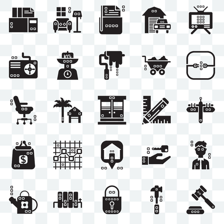 Set Of 25 transparent icons such as Ceremonial, Mallet, Blocked, Radiators, Gardening, Electric, Graphic de, Maps and Flags, Purses, Cooling, File storage, Indoor, web UI transparency icon pack
