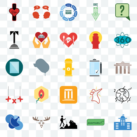 Set Of 25 transparent icons such as municipal, adaptability, hiker, moose, telecom, 360 degree, order form, municipality, xxx, concierge, discussion board, inquiry, web UI transparency icon pack