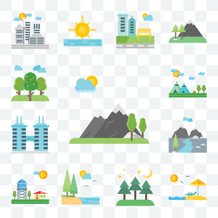 Set Of 13 transparent editable icons such as Mountains, Beach, Forest, Lake, Water, Building, Indian, Trees, web ui icon pack