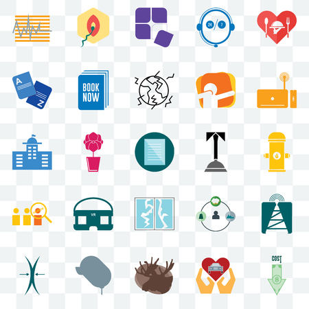 Set Of 25 transparent icons such as cost uction, fire hydrant, set top box, penetration, elastic, book now, shepherd, municipal, web UI transparency icon pack, pixel perfect Ilustrace