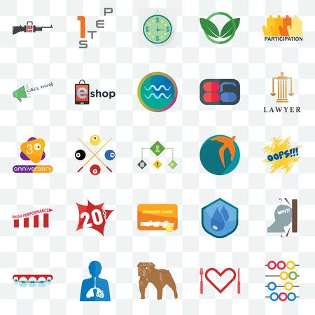 Ensemble de 25 icônes transparentes telles que boulier, appétit, bulldog, inflammation, orthodontiste, avocat, rapide, carte à gratter, haute performance, appelez maintenant, estimation, étape 1, pack d'icônes de transparence de l'interface utilisateur Web Vecteurs