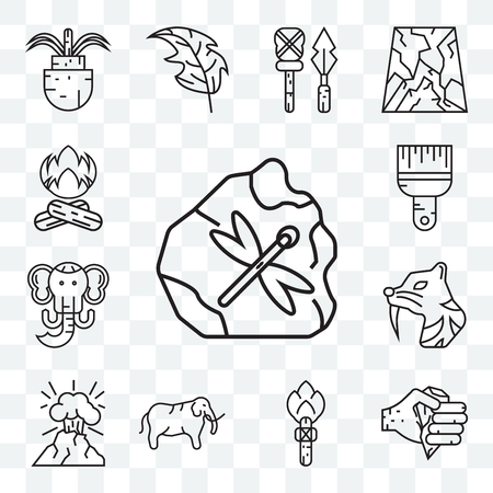 Set Of 13 transparent editable icons such as Axe, Torch, Mammoth, Volcano, Saber toothed tiger, Brush, Bonfire, web ui icon pack