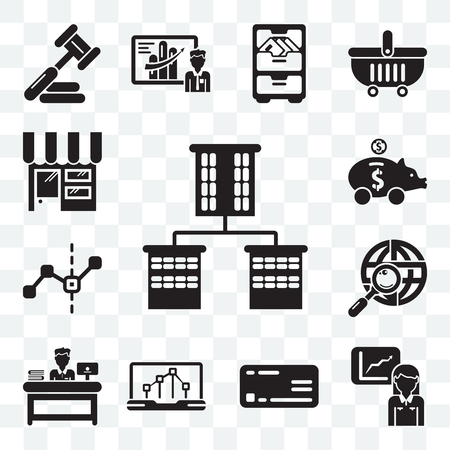 Set Of 13 transparent editable icons such as Offices, Stats, Rectangular, Line chart, Administrator, Maps and Flags, graphic, Dollar, Online store, web ui icon pack