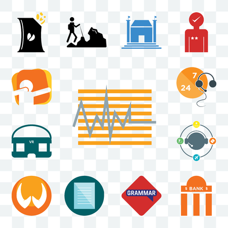 Set Of 13 transparent editable icons such as tracker, bank branch, grammar, specification, folded hands, travel agent, vr headset, live support, dab, web ui icon pack Ilustrace