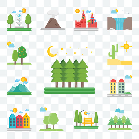 Set Of 13 transparent editable icons such as Forest, Park, Trees, Amsterdam, City, Mountains, Desert, web ui icon pack Illustration