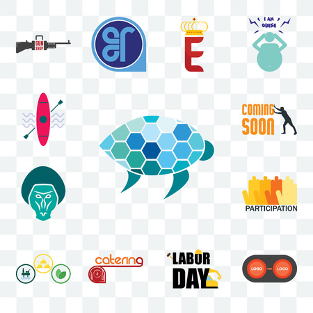 Set Of 13 transparent editable icons such as sea turtle, convert, labor day, catering, commodities, participation, baboon, soon, kayak, web ui icon pack Illusztráció