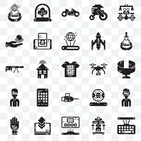 Set Of 25 transparent icons such as Keyboard, Robot, Hologram, Smartphone, Wi gloves, Drone, Chainsaw, Telekinesis, Motorbike, Tree, web UI transparency icon pack Illustration
