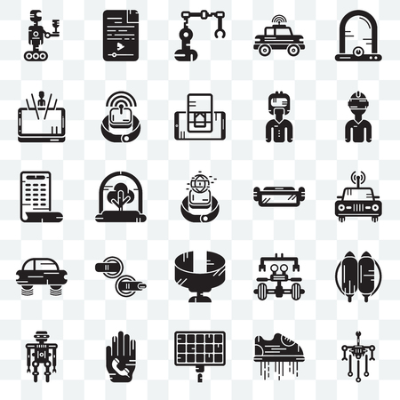 Set Of 25 transparent icons such as Robot, Car, Vr glasses, Audio file, Smartwatch, Smartphone, web UI transparency icon pack, pixel perfect Stock Vector - 111897958