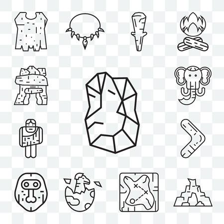 Set Of 13 transparent editable icons such as Stone, Cave, Treasure map, Dinosaur, Mask, Boomerang, Troglodyte, Mammoth, Dolmen, web ui icon pack