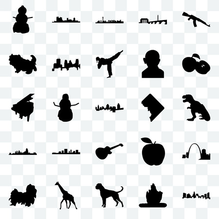 Set Of 25 transparent icons such as charlotte, lord shiva, boxer dog, giraffe, shih tzu, apple, dc, image les paul, cincinnati, las vegas, fort worth, web UI transparency icon pack