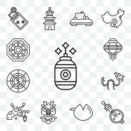 Set Of 13 transparent editable icons such as Cracker, Music, Fortune cookie, Dragon, Sakura, Horoscope, Lantern, Pa kua mirror, web ui icon pack Illustration