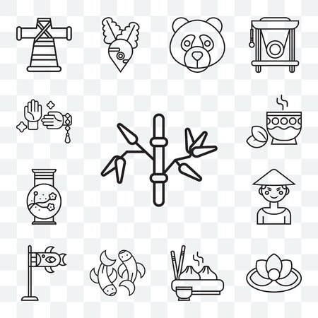 Set Of 13 transparent editable icons such as Bamboo, Lotus, Dumpling, Fishes, Koinobori, Chinese, Vase, Tea, Martial arts, web ui icon pack