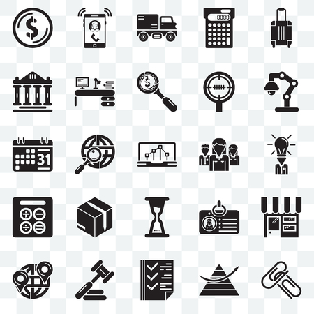 Set Of 25 transparent icons such as Attachments, Stats, Check box, Judging, Maps and Flags, Studying, Network, Wait, Calculating, Ancient, Trucking, Ringing, web UI transparency icon pack
