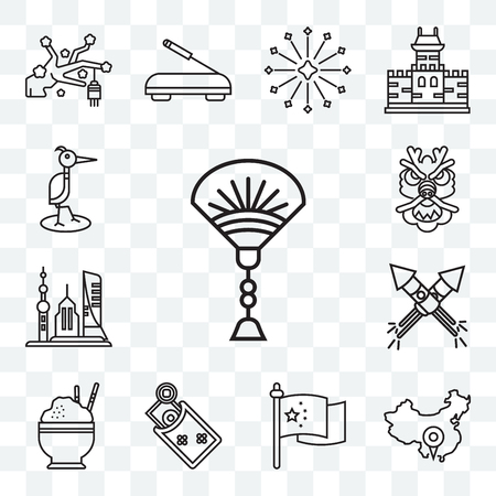 Set Of 13 transparent editable icons such as Fan, China, Flag, Money, Rice, Fireworks, Skyscrapers, Dragon, Heron, web ui icon pack  イラスト・ベクター素材