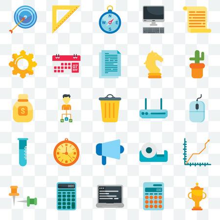 Set von 25 transparenten Symbolen wie Trophäe, Taschenrechner, Laptop, Push-Pins, Kaktus, Router, Megaphon, Kolben, Zahnrad, Kompass, Lineal, Web-UI-Transparenz-Icon-Pack