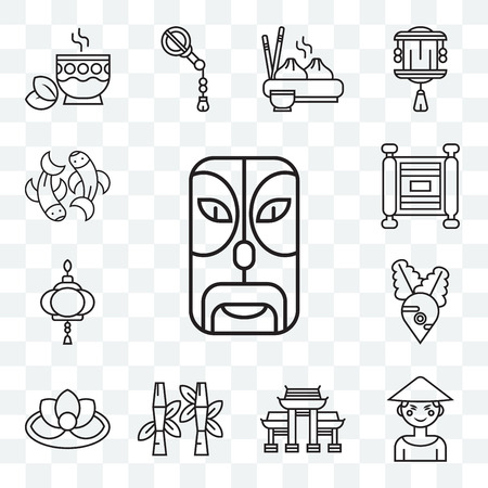 Set Of 13 transparent editable icons such as Mask, Chinese, Paifang, Bamboo, Lotus, Radish, Paper lantern, Scroll, Fishes, web ui icon pack