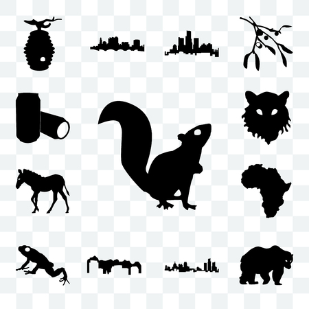 Set Of 13 transparent icons such as outline of a squirrel on white background, bear clipart michigan state web ui editable icon pack, transparency set Stock Illustratie