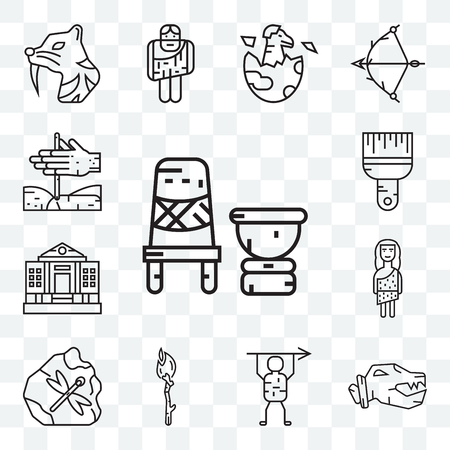 Set Of 13 transparent editable icons such as Mortar, Troglodyte, Torch, Museum, Brush, Bonfire, web ui icon pack