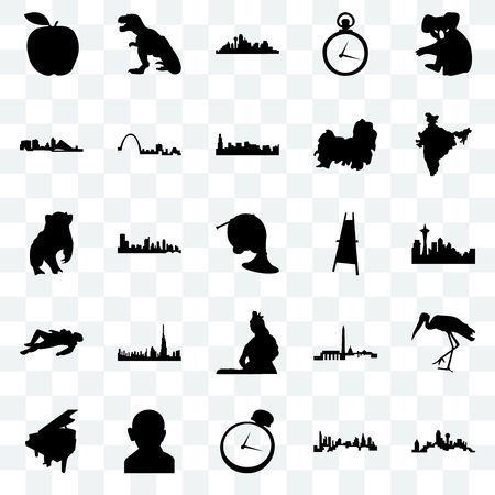 Set Of 25 transparent icons such as dallas, seattle, india map, t rex, grand piano, st louis, dc, badger, web UI transparency icon pack, pixel perfect Illustration