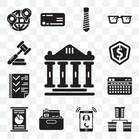 Set Of 13 transparent editable icons such as Ancient, Offices, Ringing, Office material, Circular graphic, Stats, Check box, Dollar, Judging, web ui icon pack
