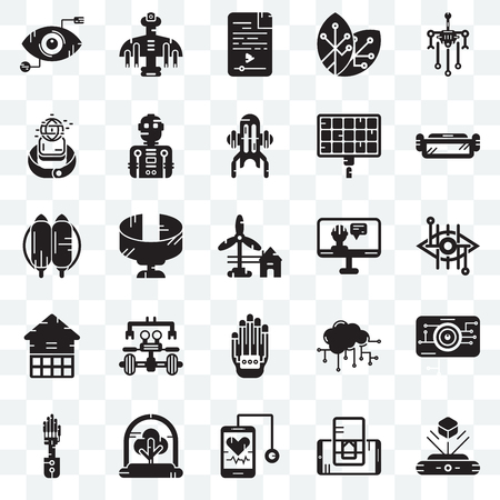 Set Of 25 transparent icons such as Hologram, Bionic contact lens, Ar glasses, Drone, Mechanical arm, Robot, Cloud computing, Jetpack, web UI transparency icon pack, pixel perfect