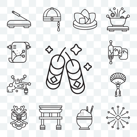 Set Of 13 transparent editable icons such as Fireworks, Rice, Torii gate, Dragon, Fan, Sakura, Silk, Painting, web ui icon pack