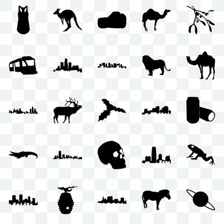 Set Of 25 transparent icons such as saturn, zebra, state of ohio, beehive, colorado, camel, louisiana, simple skull, alligator, train, boxing glove, kangaroo, web UI transparency icon pack