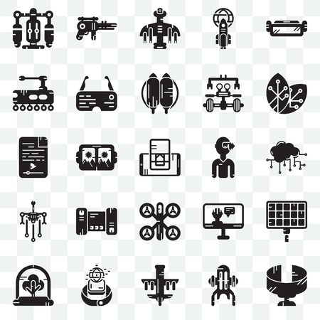 Set Of 25 transparent icons such as Panoramic view, Jet pack, Drone, Smartwatch, Tree, Renewable energy, Vr glasses, Robot, Tank, Blaster, web UI transparency icon pack