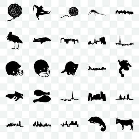 Set Of 25 transparent icons such as donkey, chameleon, , london, oklahoma, paris, jamaica, goldfish, stork, yarn ball, ninja, web UI transparency icon pack 矢量图像