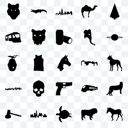 Set Of 25 transparent icons such as zebra, dog, sea turtle, state of texas, gavel, saturn, utah, handgun, cuba, train, illinois state, alligator, web UI transparency icon pack