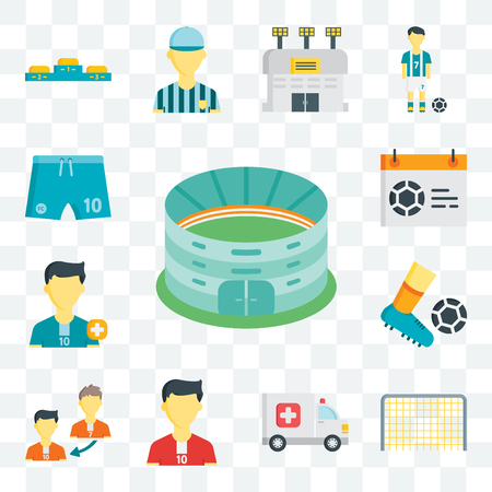 Set Of 13 transparent editable icons such as Stadium, Goal, Ambulance, Soccer player, Player substitution, Football, Calendar, Football shorts, web ui icon pack