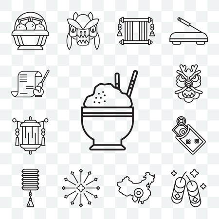 Set Of 13 transparent editable icons such as Rice, Fireworks, China, Lantern, Money, Dragon, Calligraphy, web ui icon pack