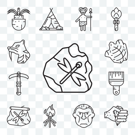 Set Of 13 transparent editable icons such as  Axe, Troglodyte, Bonfire, Dried insect in amber, Brush, Pick, Saber toothed tiger, web ui icon pack