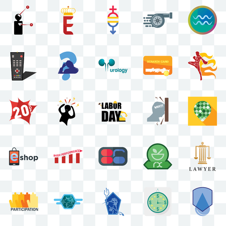 Set Of 25 transparent icons such as waterproof, estimate, neptune, semi truck, participation, muay thai, frustration, 86, eshop, tv remote, gender equality, e crown, web UI transparency icon pack Ilustração