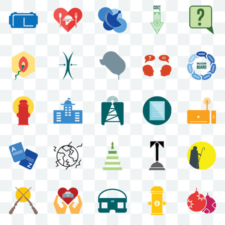 Set Of 25 transparent icons such as christmas bulb, set top box, discussion board, hospitality, shotgun, elastic, concierge, fire hydrant, web UI transparency icon pack, pixel perfect