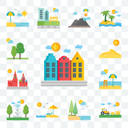 Set Of 13 transparent editable icons such as Amsterdam, Field, Lake, Beach, Fountain, Moscow, Dune, Trees, web ui icon pack