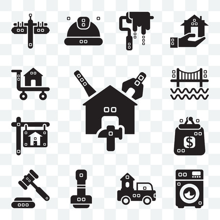 Set Of 13 transparent editable icons such as Reparation, Cleaned, Trucks, Paper work, Ceremonial, Purses, Real estate, Bridges, Carrier, web ui icon pack