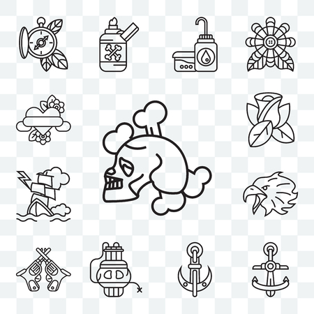 Set Of 13 transparent editable icons such as Skull and Bones, Anchor, Dinamite, Revolvers, Eagle, Ship, Rose, Heart, web ui icon pack