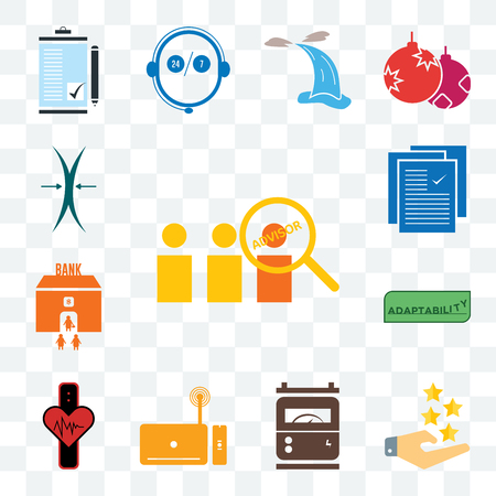 Set Of 13 transparent editable icons such as advisor, customer experience, electric meter, set top box, tracker, adaptability, bank branch, specification, elastic, web ui icon pack