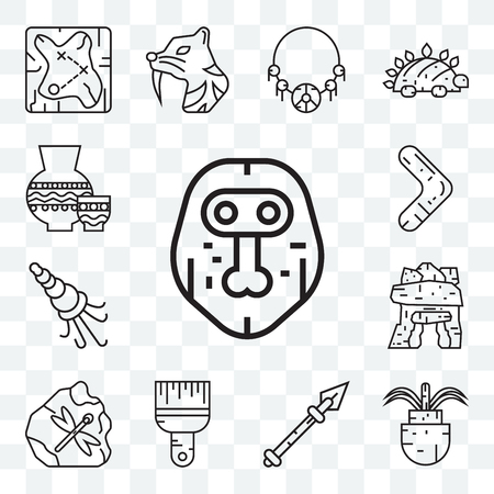 Set Of 13 transparent editable icons such as Mask, Plant, Spear, Brush, Dolmen, Shellfish, Boomerang, Pottery, web ui icon pack Illustration